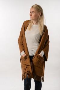 Палантин с карманами из экозамши